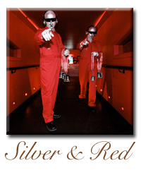 silver red human living statue company hire